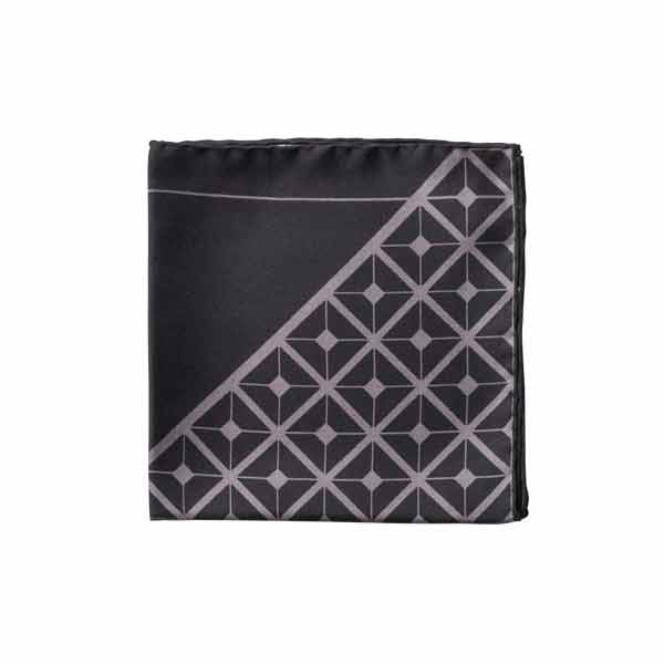 Diagonal Square Black and Grey Silk Pocket Square By Elizabeth Parker