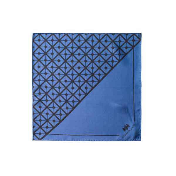 Diagonal Square Black and Navy Silk Pocket Square By Elizabeth Parker in gift box