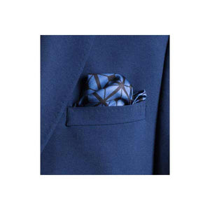 Diagonal Square Black and Navy Silk Pocket Square By Elizabeth Parker in jacket pocket