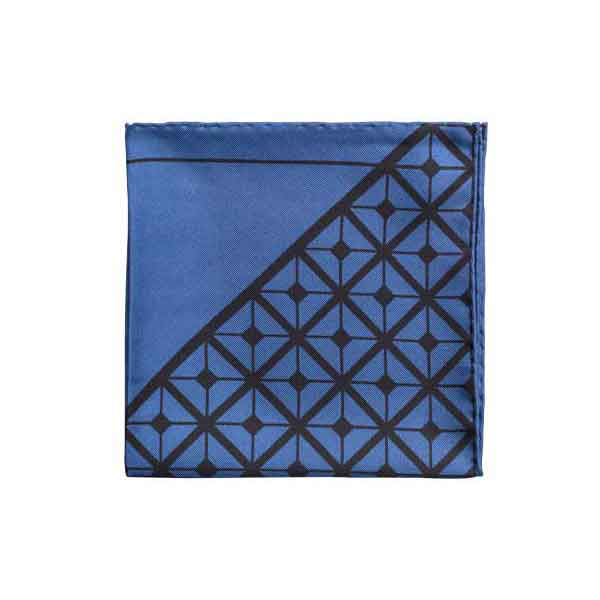 Diagonal Square Black and Navy Silk Pocket Square By Elizabeth Parker