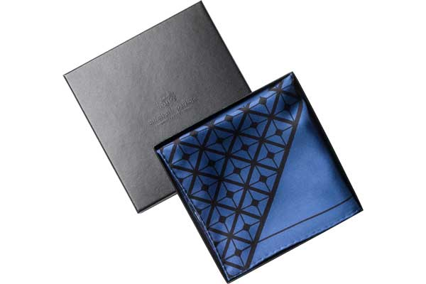 Diagonal Square Black and Blue Silk Pocket Square by Elizabeth Parker