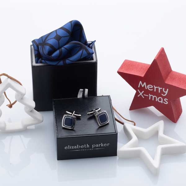 Diagonal Square Black and Blue Silk Pocket Square and Cuffllink Christmas Gift Set