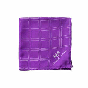 Check Grid Purple Silk Pocket Square by Elizabeth Parker