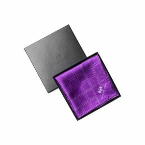 Check Grid Purple Silk Pocket Square by Elizabeth Parker in gift box