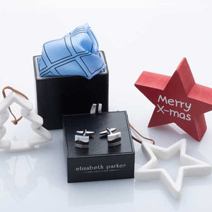 Sky Blue Check Grid Silk Pocket Square and Cufflink Christmas Gift Set