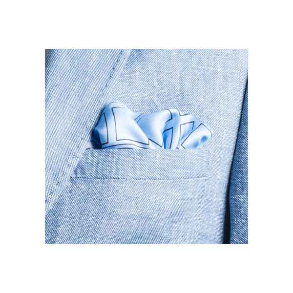 Check Grid Sky Blue Silk Pocket Square by Elizabeth Parker in jacket pocket