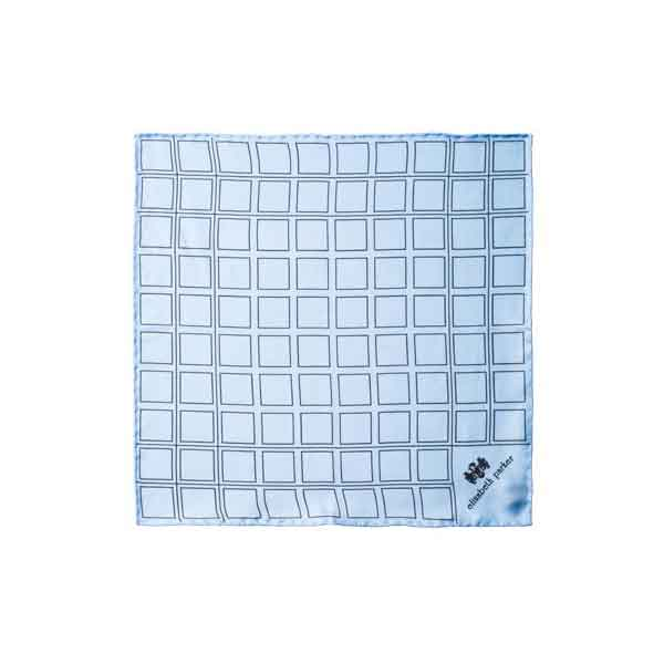 Check Grid Sky Blue Silk Pocket Square by Elizabeth Parker