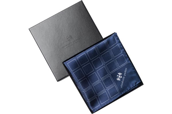 Navy Blue Check Grid Silk Pocket Square by Elizabeth Parker
