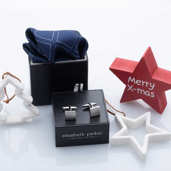 Navy Blue Check Grid Silk Pocket Square and Cufflink Christmas Gift Set