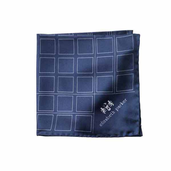Check Grid Navy Silk Pocket Square by Elizabeth Parker
