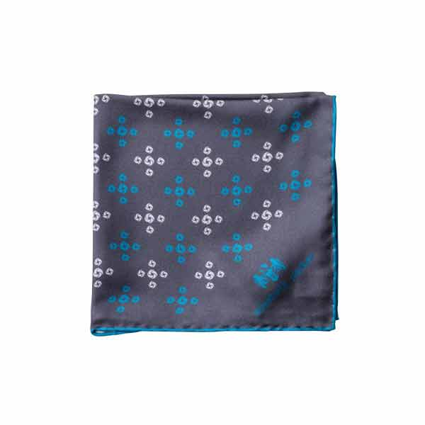 Teal Revolving Knot Silk Pocket Square by Elizabeth Parker