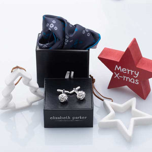 Teal Revolving Knot Silk Pocket Square and Cufflink Christmas Gift Set by Elizabeth Parker