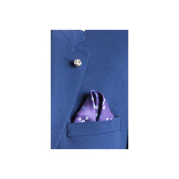 Sky Blue Revolving Knot Silk Pocket Square by Elizabeth Parker in jacket pocket