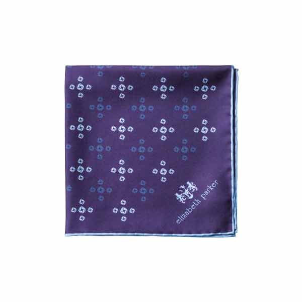 Sky Blue Revolving Knot Silk Pocket Square by Elizabeth Parker