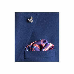 Red White and Blue Rope Twist Silk Pocket Square by Elizabeth Parker in jacket pocket