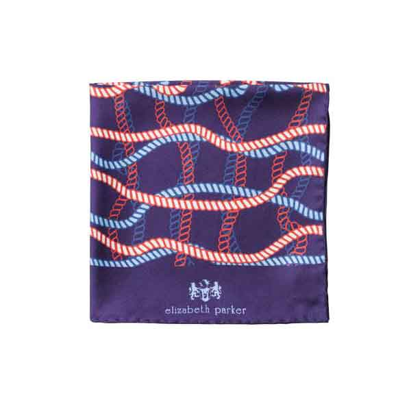 Red White and Blue Rope Twist Silk Pocket Square by Elizabeth Parker