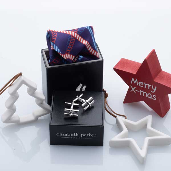 Red Rope Twist Silk Pocket Square and Cufflink Christmas Gift Set by Elizabeth Parker