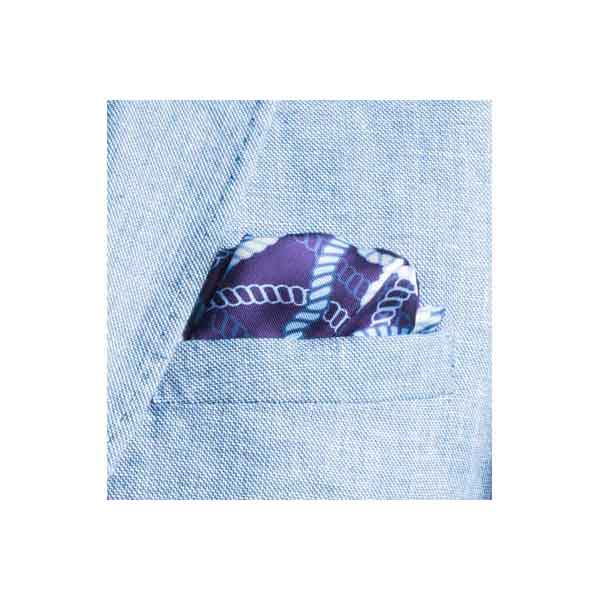Blue and White Rope Twist Silk Pocket Square By Elizabeth Parker in jacket pocket