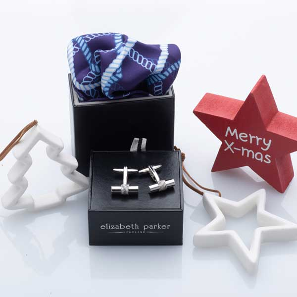 Navy, blue and white rope twist silk pocket square and rope cufflinks Christmas gift set by Elizabeth Parker