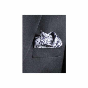 Paisley Swirl Silk Pocket Square Light and Dark Grey by Elizabeth Parker in jacket pocket