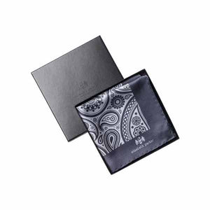 Paisley Swirl Silk Pocket Square Light and Dark Grey by Elizabeth Parker in gift box