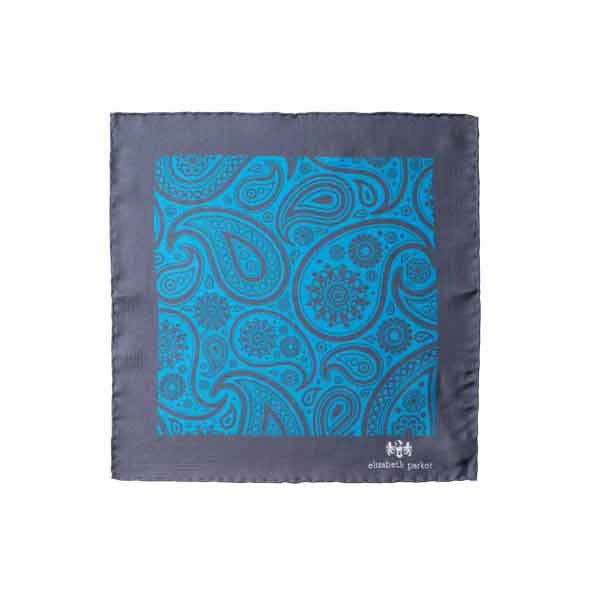 Paisley Swirl Silk Pocket Square Teal and Grey by Elizabeth Parker in gift box