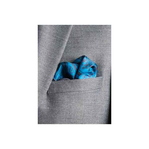 Paisley Swirl Silk Pocket Square Teal and Grey by Elizabeth Parker in jacket pocket
