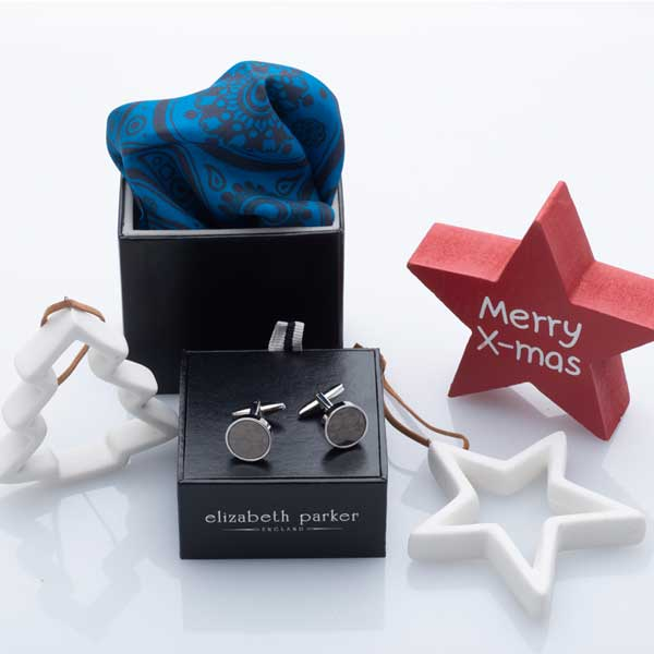 Teal Paisley Silk Pocket Square and Paisley Cufflink Christmas Gift Set by Elizabeth Parker