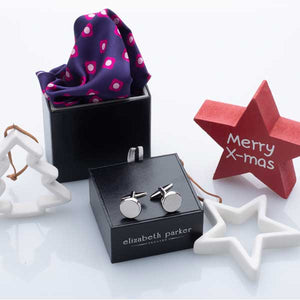 Pink Daisy Do Silk Pocket Square and Cufflink Christmas Gift Set