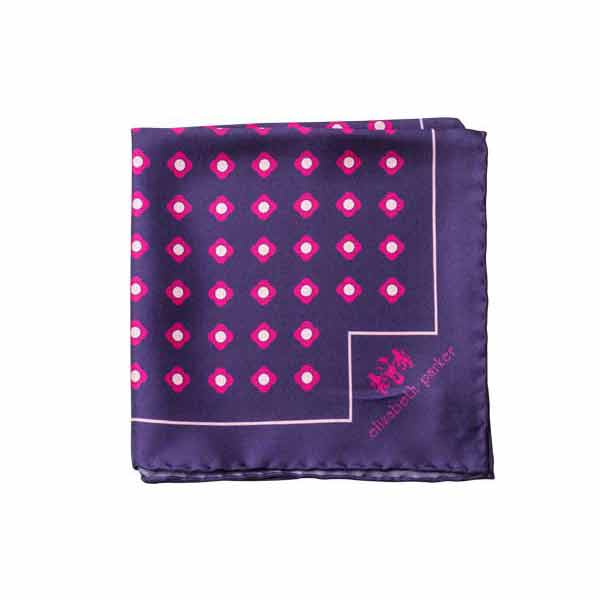 Pink Daisy Do Silk Pocket Square by Elizabeth Parker