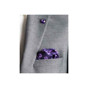 Purple Daisy Do Silk Pocket Square by Elizabeth Parker in jacket pocket