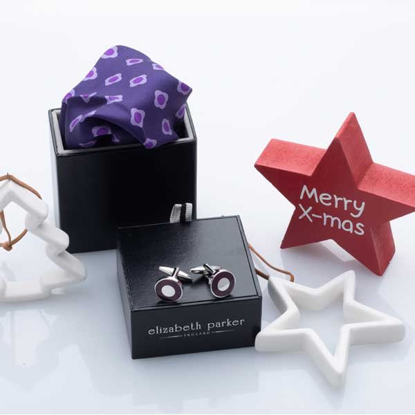 Purple Daisy Do Silk Pocket Square and Cufflink Christmas Gift Set