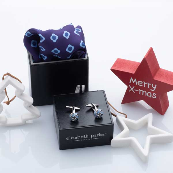 Blue Daisy Do Silk Pocket Square and Cufflink Christmas Gift Set