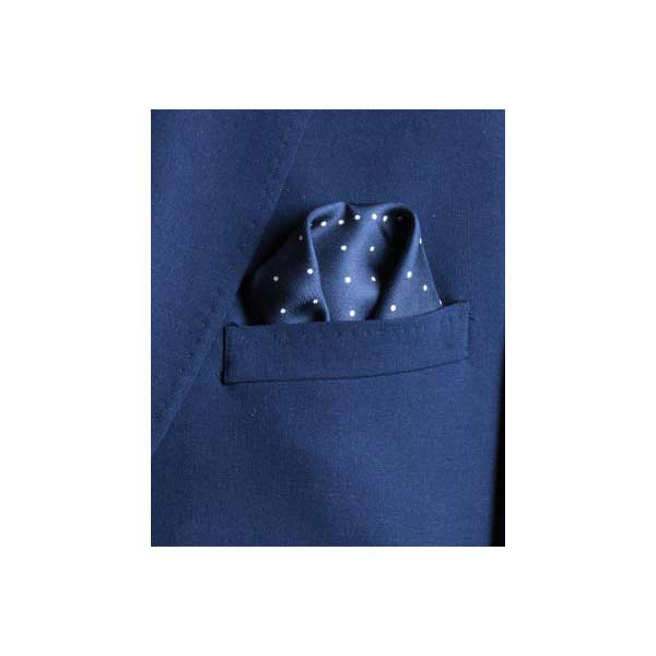 Navy Multi Dotty Silk Pocket Square by Elizabeth Parker