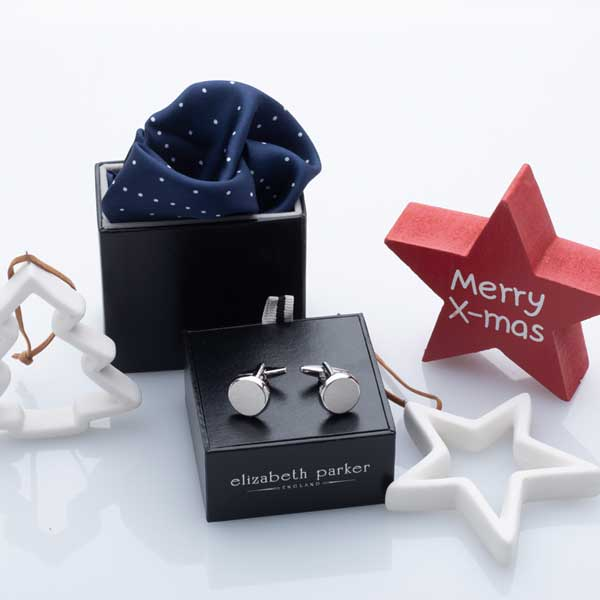 Navy Multi Dotty Silk Pocket Square and Cufflink Christmas Gift Set