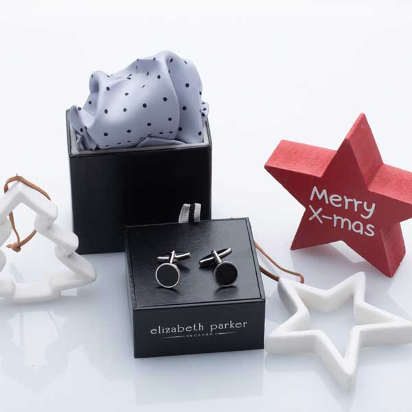 Grey Multi Dotty Silk Pocket Square and Cufflinks Christmas Gift Set