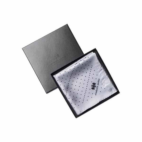 Grey Multi Dotty Silk Pocket Square By Elizabeth Parker in gift box