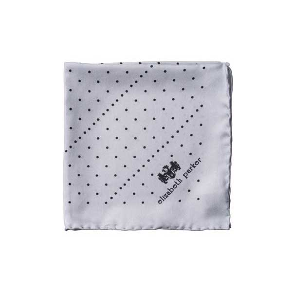 Grey Multi Dotty Silk Pocket Square By Elizabeth Parker