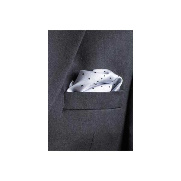 Grey Multi Dotty Silk Pocket Square By Elizabeth Parker in jacket pocket
