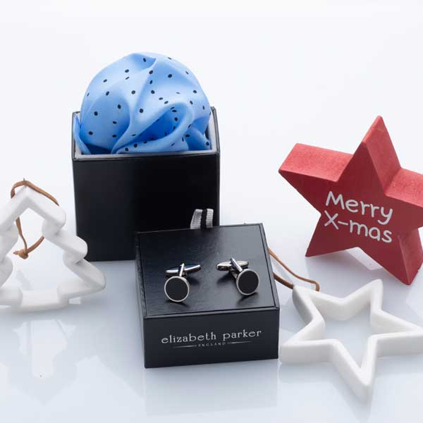 Sky Blue Multi Dotty Silk Pocket Square and Cufflink Christmas Gift Set