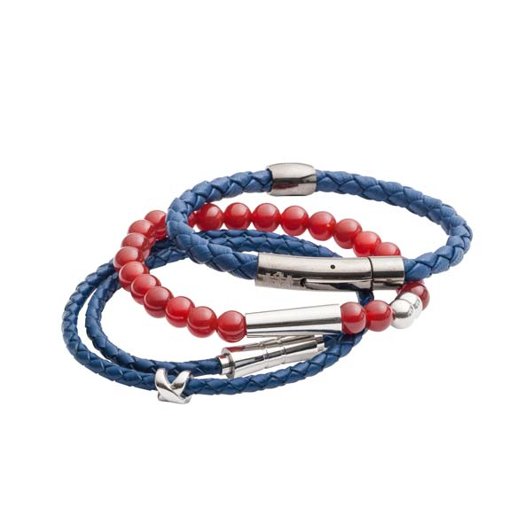 Stack of blue leather and red Cornelian bead men's bracelets by Elizabeth Parker