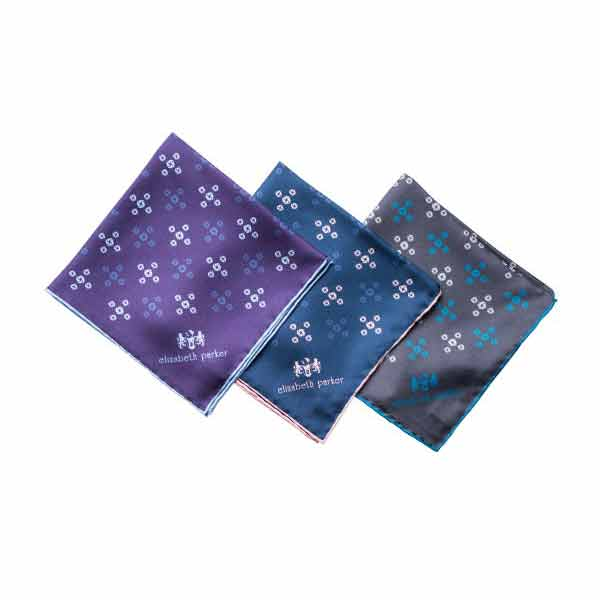 Revolving Knot Silk Pocket Square Range from Elizabeth Parker