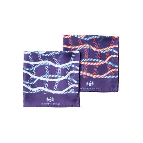 Rope Twist Silk Pocket Square Range by Elizabeth Parker