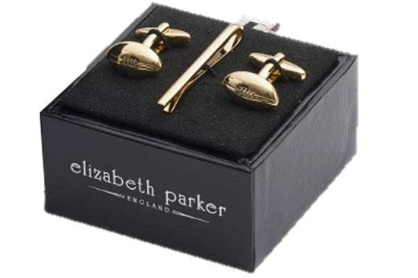 Gold Rugby ball cufflinks and matching tie slide gift set by Elizabeth Parker