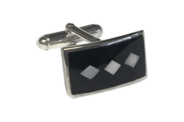 Diamonds in the Sky Black Onxy and Mother of Pearl D-Shaped .925 Solid Silver Cufflinks