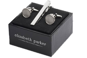 Round plain metal cufflinks with textured centre and matching tie clip by Elizabeth Parker