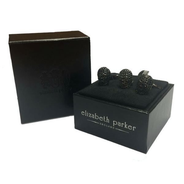 Black Crystal Skull Cufflinks and Lapel Pin Gift Set by Elizabeth Parker