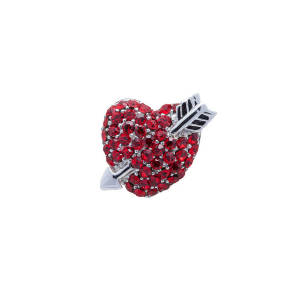 Red Crystal Love Heart Lapel Pin by Elizabeth Parker