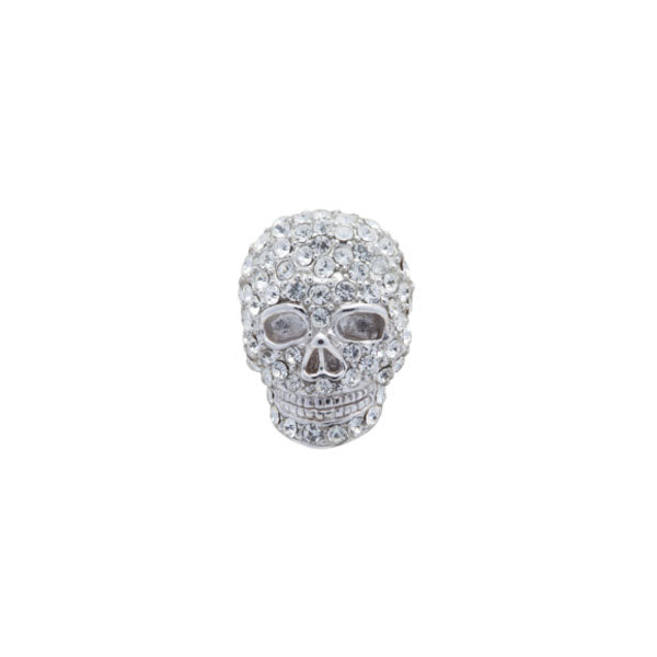 Clear Crystal Skull Lapel Pin by Elizabeth Parker