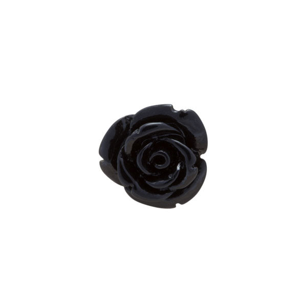 Black Rose Flower Metal Lapel Pin by Elizabeth Parker